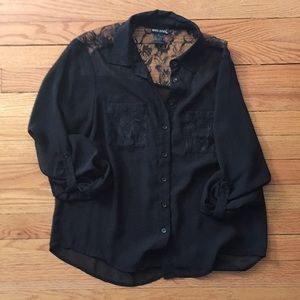 Lace and mesh button up blouse
